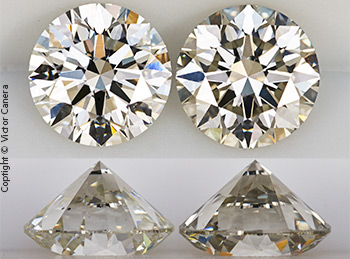 Two GIA Certified I colored diamonds, one with a yellow undertone, the other with a gray undertone