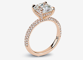 Jocelyn Solitaire with multi-row U-Cut Pave